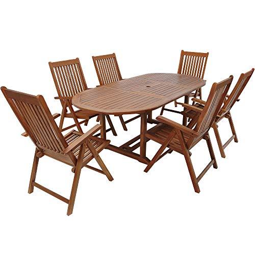 Casaria Sitzgruppe Vanamo 6+1 FSC®-zertifiziertes Eukalyptusholz klappbar 7-TLG Tisch Sitzgarnitur Holz Gartenmöbel Garten Set