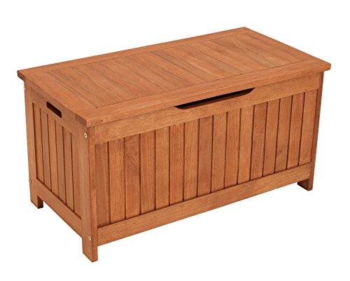 gartenmoebel-einkauf Kissenbox mit Deckel aus Eukalyptus Holz 88x45x45, FSC®-Zertifiziert