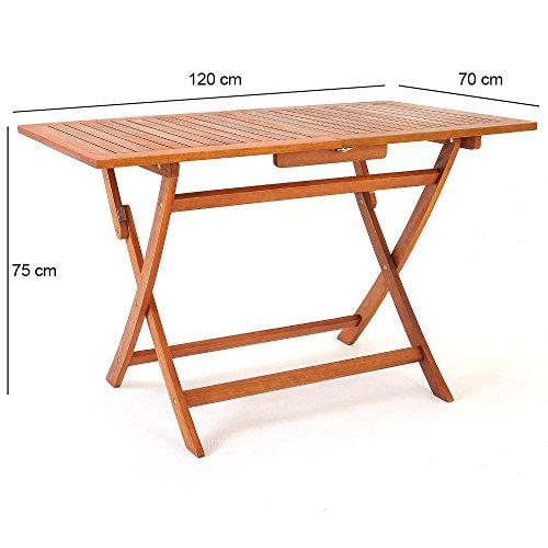 Deuba Sitzgruppe Sydney 4+1 FSC®-zertifiziertes Akazienholz 5-TLG Tisch klappbar Sitzgarnitur Holz Garten Möbel Set - 4