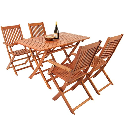 Deuba Sitzgruppe Sydney 4+1 FSC®-zertifiziertes Akazienholz 5-TLG Tisch klappbar Sitzgarnitur Holz Garten Möbel Set - 6