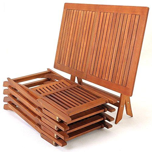 Deuba Sitzgruppe Sydney 4+1 FSC®-zertifiziertes Akazienholz 5-TLG Tisch klappbar Sitzgarnitur Holz Garten Möbel Set - 8
