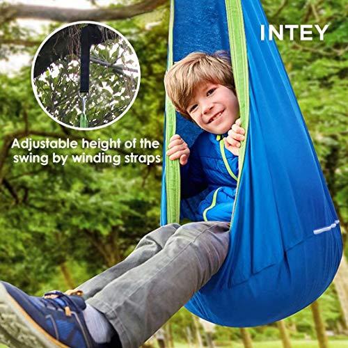 INTEY Hängehöhle Kinder Hängesessel mit Haken und Hängende Seile, Hängesack als Kuschelhöhle oder Turngerät für Kinder, Blau/Grün - 5