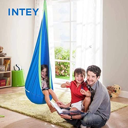 INTEY Hängehöhle Kinder Hängesessel mit Haken und Hängende Seile, Hängesack als Kuschelhöhle oder Turngerät für Kinder, Blau/Grün - 7