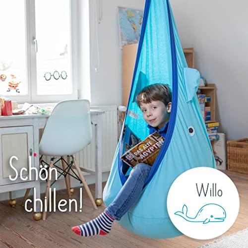snuutje Hängehöhle für Kinder Willo der Wal (Schadstoff geprüft und GS-Zertifiziert, aus 100% Baumwolle, hält bis 80 kg, mit Zubehör) blau - 4