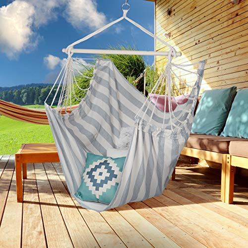Relaxdays Hängesitz, XL Hängesessel aus Baumwolle, für Kinder & Erwachsene, Aufhängung, In-& Outdoor, 150 kg, grau/weiß - 2