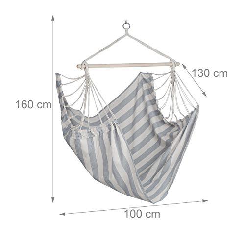 Relaxdays Hängesitz, XL Hängesessel aus Baumwolle, für Kinder & Erwachsene, Aufhängung, In-& Outdoor, 150 kg, grau/weiß - 4