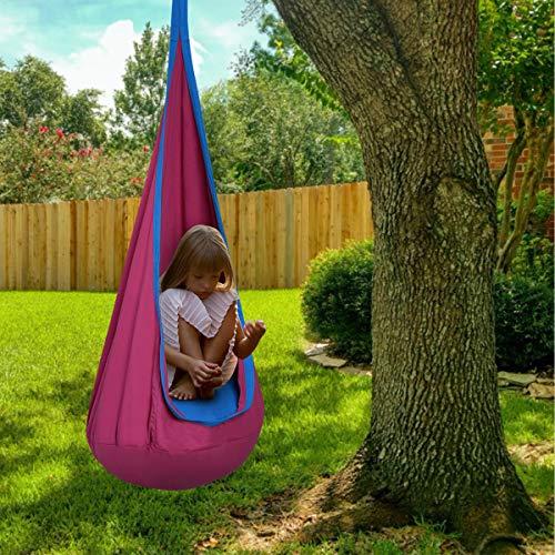 DREAMADE Hängehöhle für Kinder, Hängesessel Kinderhängesitz für innen und draußen, Kinder Hängesack als Fly Schaukel, Kinderhängeplatz Hängeschaukel mit Sitzkissen, max. 80kg belastbar (Rosa) - 2