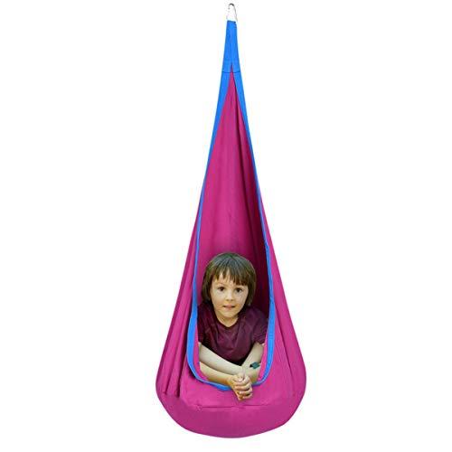 DREAMADE Hängehöhle für Kinder, Hängesessel Kinderhängesitz für innen und draußen, Kinder Hängesack als Fly Schaukel, Kinderhängeplatz Hängeschaukel mit Sitzkissen, max. 80kg belastbar (Rosa) - 8