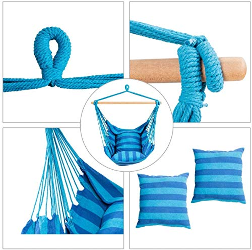 RELAX4LIFE Hängesessel, Hängesitz mit 2 abnehmbaren Kissen, Hängestuhl mit dickem Seil, Hängeschaukel für Kinder & Erwachsene, für Balkon & Wohnzimmer, bis zu 160 kg belastbar, waschbar (Hellblau) - 4