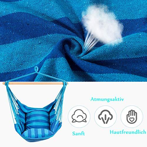 RELAX4LIFE Hängesessel, Hängesitz mit 2 abnehmbaren Kissen, Hängestuhl mit dickem Seil, Hängeschaukel für Kinder & Erwachsene, für Balkon & Wohnzimmer, bis zu 160 kg belastbar, waschbar (Hellblau) - 5