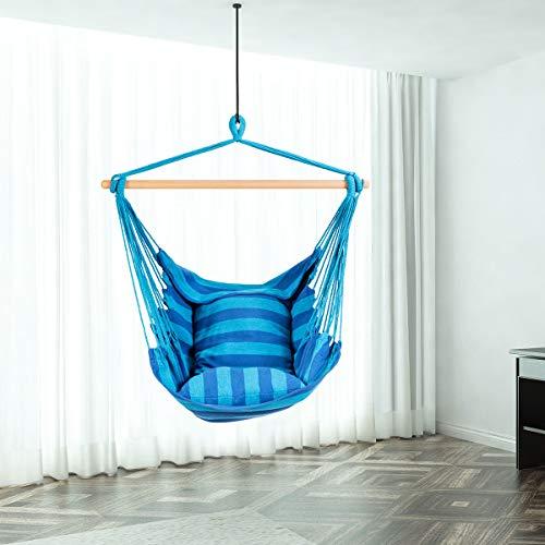 RELAX4LIFE Hängesessel, Hängesitz mit 2 abnehmbaren Kissen, Hängestuhl mit dickem Seil, Hängeschaukel für Kinder & Erwachsene, für Balkon & Wohnzimmer, bis zu 160 kg belastbar, waschbar (Hellblau) - 8