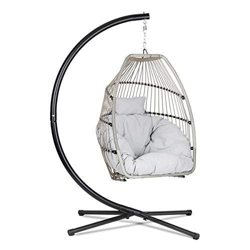 Sekey Polyrattan Hängesessel mit Gestell, Garten Hängestuhl inkl. Sitzkissen und Rückenkissen für Balkon, Grau XXL
