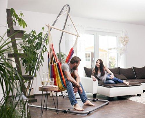 AMAZONAS Formschönes Hängesesselgestell aus Stahl Luna RockStone höhenverstellbar für Wohnzimmer und Garten 120 x 200-240 x 145 cm bis 120 kg - 2