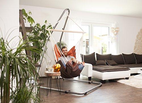 AMAZONAS Formschönes Hängesesselgestell aus Stahl Luna RockStone höhenverstellbar für Wohnzimmer und Garten 120 x 200-240 x 145 cm bis 120 kg - 3