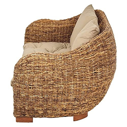 Rotin Design Rattansofa AZUR – Korbsofa – inkl. Sitzpolster – Massivholzfüße – Braun - 5