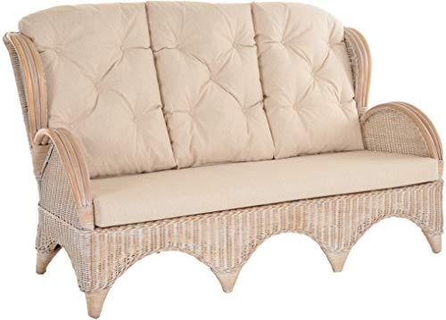 korb.outlet Rattan-Sofa 3-Sitzer Korbsofa inkl. Polster, Sofa nach Art wie Ohrensessel Hochlehn-Sofa Wintergarten Couch Rattanmöbel (Vintage Weiss)