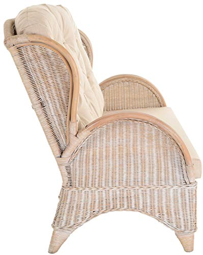 korb.outlet Rattan-Sofa 3-Sitzer Korbsofa inkl. Polster, Sofa nach Art wie Ohrensessel Hochlehn-Sofa Wintergarten Couch Rattanmöbel (Vintage Weiss) - 3