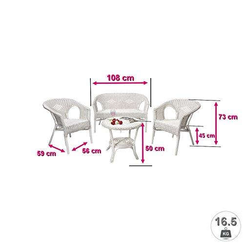 Rattanmöbel-Set Chris – 4-teilig (Rattansessel, Rattansofa, Tisch) – Weiß - 3