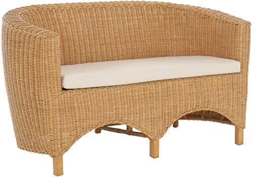 korb.outlet Rattan-Sofa 2-Sitzer Club inkl. Sitzpolster Beige, Couch aus echtem Rattan (Honig - Dunkel)