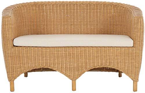 korb.outlet Rattan-Sofa 2-Sitzer Club inkl. Sitzpolster Beige, Couch aus echtem Rattan (Honig – Dunkel) - 2