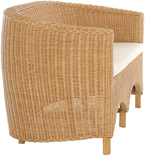 korb.outlet Rattan-Sofa 2-Sitzer Club inkl. Sitzpolster Beige, Couch aus echtem Rattan (Honig – Dunkel) - 3