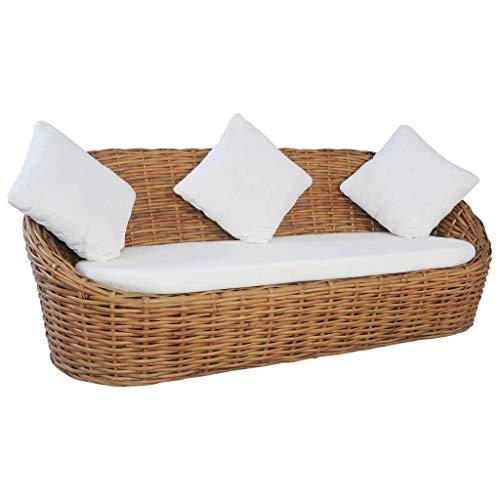 vidaXL Sofa 3-Sitzer mit Polstern Loungesofa Couch Rattansofa Rattanmöbel Sitzmöbel Wohnzimmer Möbel Schlafzimmer Tagesbett Natürliches Rattan