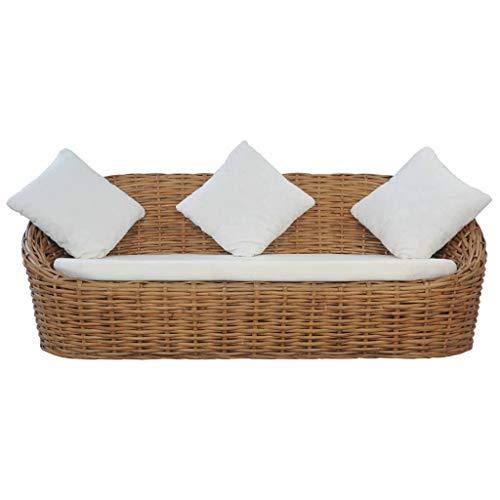 vidaXL Sofa 3-Sitzer mit Polstern Loungesofa Couch Rattansofa Rattanmöbel Sitzmöbel Wohnzimmer Möbel Schlafzimmer Tagesbett Natürliches Rattan - 3