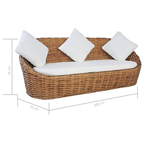 vidaXL Sofa 3-Sitzer mit Polstern Loungesofa Couch Rattansofa Rattanmöbel Sitzmöbel Wohnzimmer Möbel Schlafzimmer Tagesbett Natürliches Rattan - 8
