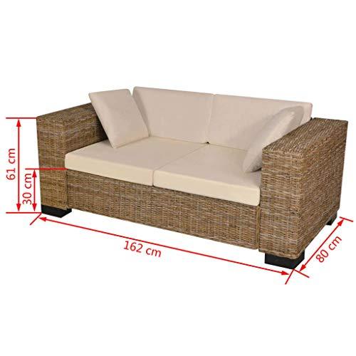 Zora Walter 7-TLG. 2-Sitzer Sofa Set Echtes Rattan Couch Schlafsofa Bettsofa Mit 2 x Sitzkissen,2 x R¨¹ckenkissen,2 x Sofakissen - 3