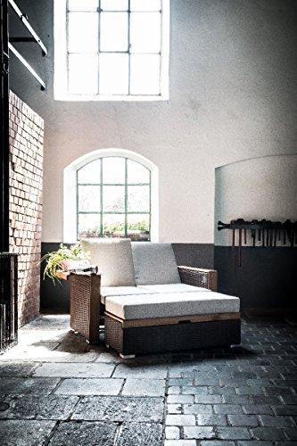 greemotion Rattan-Lounge Bahia Lanzarote, Sofa & Bett aus Polyrattan & Akazienholz, 2er Garten-Sofa mit Stahl-Gestell, Daybed zweigeteilt, braun - 9