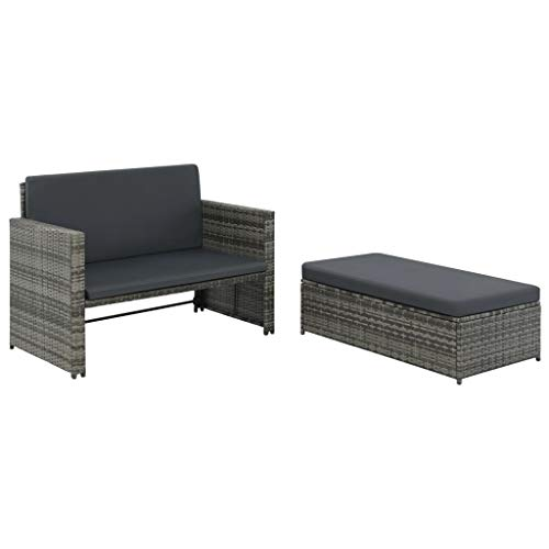 vidaXL Gartensofa 5-TLG. Poly Rattan Grau Lounge Gartenmöbel Gartenset Bank