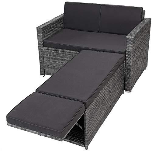 Casaria Poly Rattan Lounge Sofa 2 Sitzer Gartensofa mit Sitztruhe 7cm Auflagen Outdoor Couch Gartenliege Wetterfest Grau
