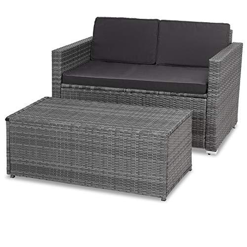 Casaria Poly Rattan Lounge Sofa 2 Sitzer Gartensofa mit Sitztruhe 7cm Auflagen Outdoor Couch Gartenliege Wetterfest Grau - 5