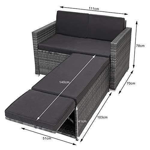 Casaria Poly Rattan Lounge Sofa 2 Sitzer Gartensofa mit Sitztruhe 7cm Auflagen Outdoor Couch Gartenliege Wetterfest Grau - 8
