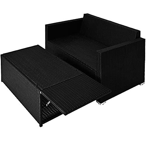 Deuba Poly Rattan Lounge Sofa 2 Sitzer Sitztruhe mit Stauraum Dicke Auflagen Relaxliege Sonnenliege Couch Set Schwarz - 9