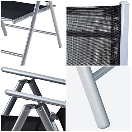 Deuba Sitzgruppe Bern 8+1 Aluminium 7-Fach verstellbare Hochlehner Stühle Tisch mit Sicherheitsglas Silber Garten Set - 4