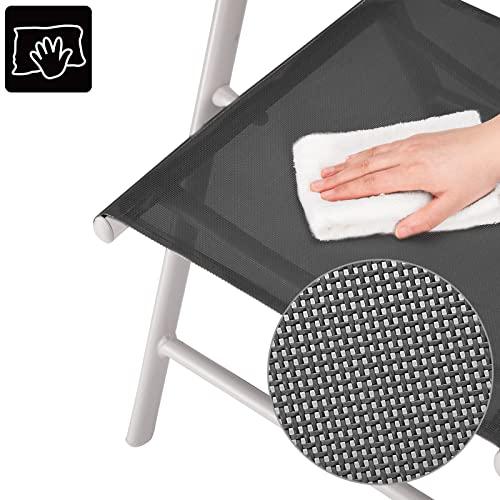 Deuba Sitzgruppe Bern 8+1 Aluminium 7-Fach verstellbare Hochlehner Stühle Tisch mit Sicherheitsglas Silber Garten Set - 7