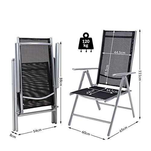 Deuba Sitzgruppe Bern 8+1 Aluminium 7-Fach verstellbare Hochlehner Stühle Tisch mit Sicherheitsglas Silber Garten Set - 8