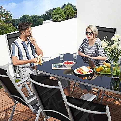 Deuba Sitzgruppe Bern 8+1 Aluminium 7-Fach verstellbare Hochlehner Stühle Tisch mit Sicherheitsglas Silber Garten Set - 9
