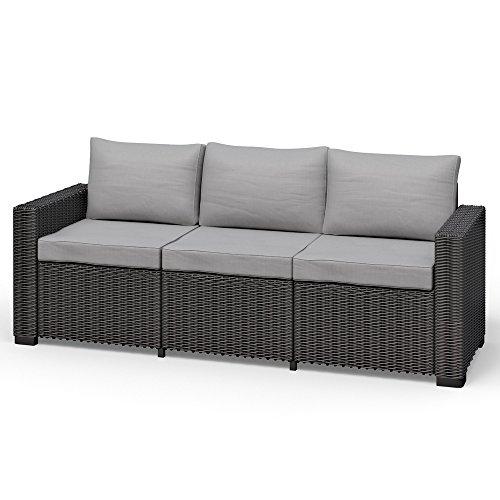 Allibert California 3-Sitzer Couch Polyrattan Gartenmöbel Lounge Rattanoptik