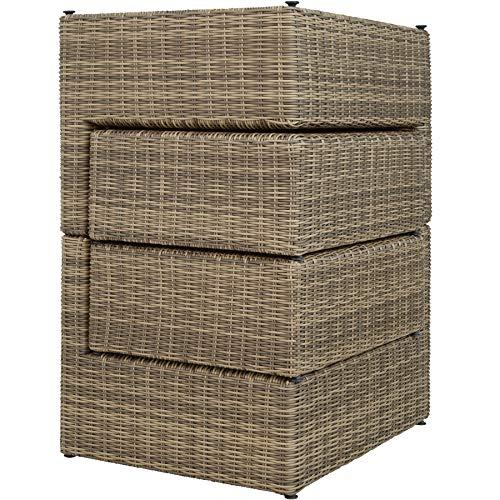 TecTake 800694 Aluminium Polyrattan Multifunktions Luxus Loungegruppe Gartensofa mit Tisch, für Garten oder Terrasse, vielseitig kombinierbar, inkl. Polster - Diverse Farben (Natur | Nr. 403168) - 2