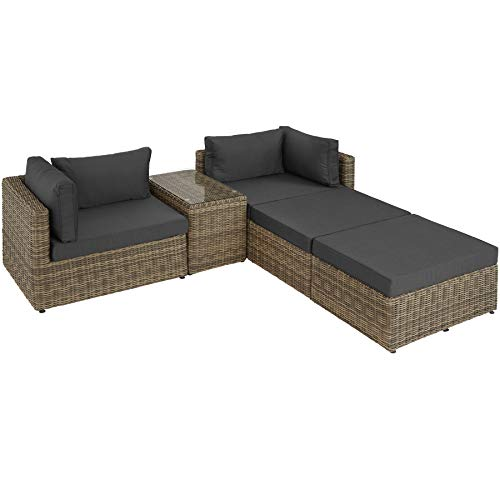 TecTake 800694 Aluminium Polyrattan Multifunktions Luxus Loungegruppe Gartensofa mit Tisch, für Garten oder Terrasse, vielseitig kombinierbar, inkl. Polster - Diverse Farben (Natur | Nr. 403168) - 4