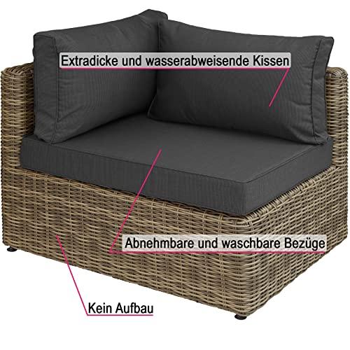 TecTake 800694 Aluminium Polyrattan Multifunktions Luxus Loungegruppe Gartensofa mit Tisch, für Garten oder Terrasse, vielseitig kombinierbar, inkl. Polster - Diverse Farben (Natur | Nr. 403168) - 5
