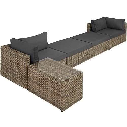 TecTake 800694 Aluminium Polyrattan Multifunktions Luxus Loungegruppe Gartensofa mit Tisch, für Garten oder Terrasse, vielseitig kombinierbar, inkl. Polster - Diverse Farben (Natur | Nr. 403168) - 8