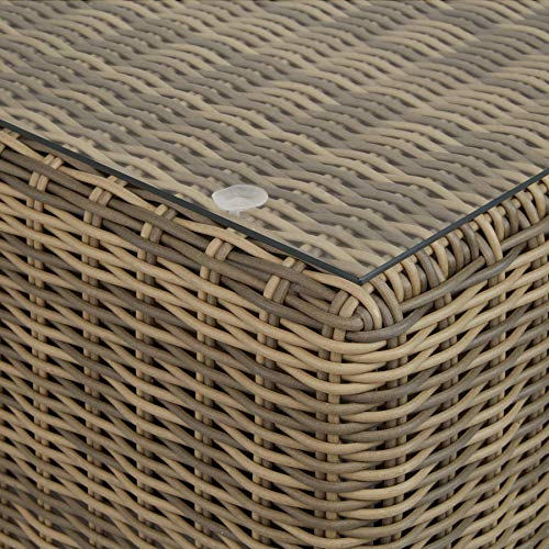 TecTake 800694 Aluminium Polyrattan Multifunktions Luxus Loungegruppe Gartensofa mit Tisch, für Garten oder Terrasse, vielseitig kombinierbar, inkl. Polster - Diverse Farben (Natur | Nr. 403168) - 9