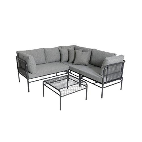 greemotion Loungeset Toulouse eisengrau/grau, Eckbank mit Tisch für In- und Outdoor, Bank mit Rückenverstellung, pflegeleichtes Streckmetallgestell, Sitzelemente einfach umzustellen, ca. 5 Sitzplätze