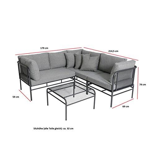 greemotion Loungeset Toulouse eisengrau/grau, Eckbank mit Tisch für In- und Outdoor, Bank mit Rückenverstellung, pflegeleichtes Streckmetallgestell, Sitzelemente einfach umzustellen, ca. 5 Sitzplätze - 2