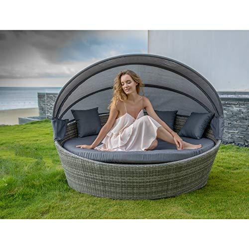 Home Islands Taipeh Sonneninsel Loungeinsel Polyrattan Daybed Loungebett Gartenmuschel rund mit Sonnendach