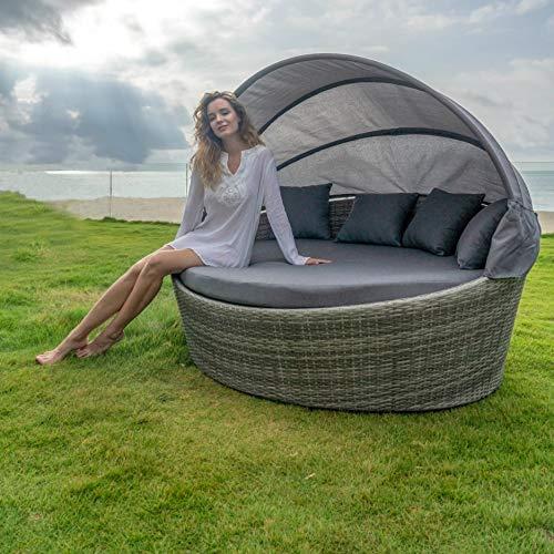 Home Islands Taipeh Sonneninsel Loungeinsel Polyrattan Daybed Loungebett Gartenmuschel rund mit Sonnendach - 7