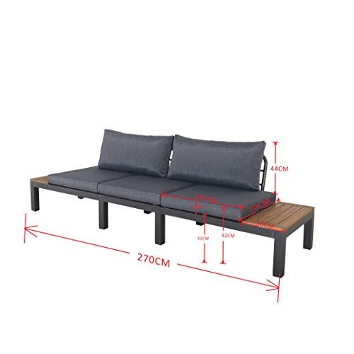 Chicreat Three-Seat Convertible Sofa with FSC Acacia Side Table, 270 x 78 x 86cm - 11
